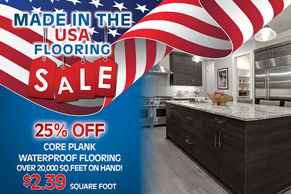25% off core plank waterproof flooring!  Over 20,000 sq.ft. on hand only $2.39 sq.ft.