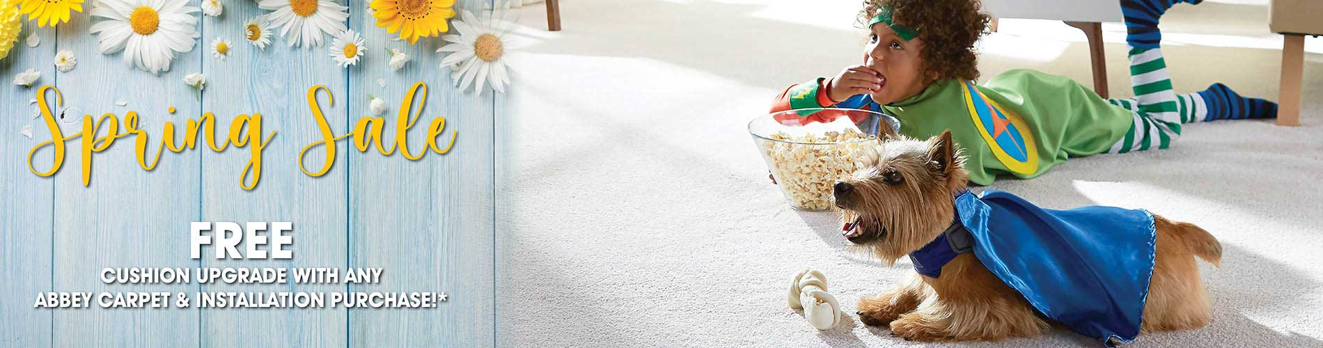 Get free cushion upgrade with any Abbey Carpet & Installation purchase during our spring sale at Seland's in Fergus Falls