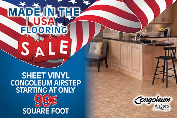 Sheet vinyl Congoleum Airstep starting at only $0.99 square foot during our Made in the USA Flooring Sale