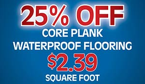 Core plank waterproof flooring over 20,000 square feet on hand! $2.39 square foot during our Made in the USA Flooring Sale