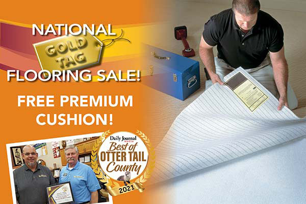 Free premium cushion during our National Gold Tag Flooring Sale