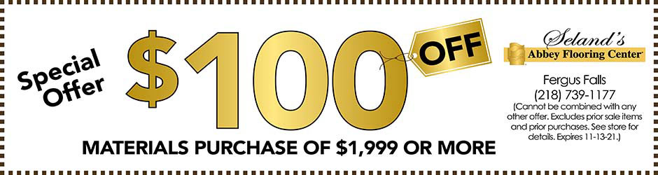 $100 off materials purchase of $1,999 or more at Seland's Abbey Flooring Center
