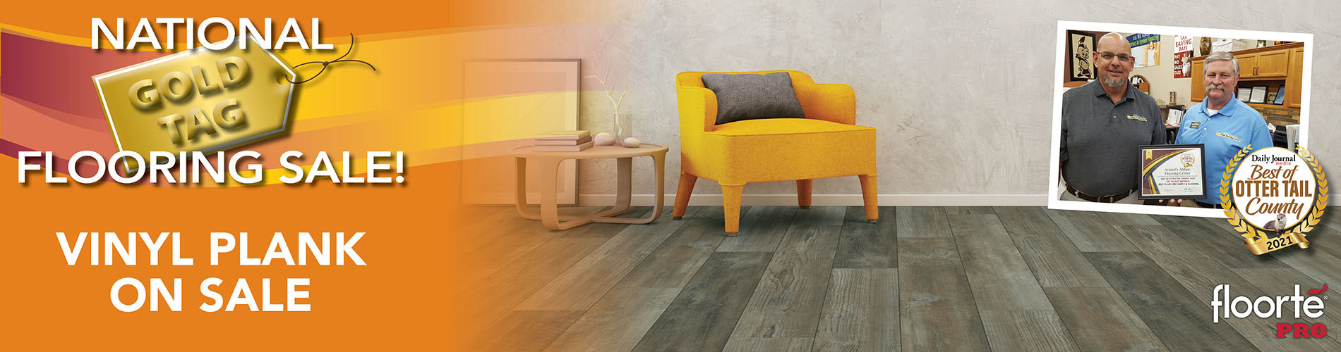 Vinyl plank is on sale during our National Gold Tag Flooring Sale.